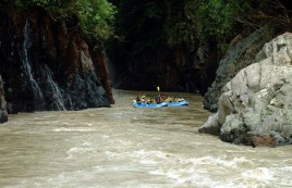 Raft through fast flowing waters