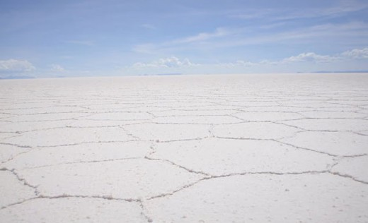 The sun scorched Uyuni Salt Flats
