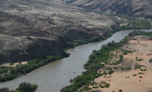 Kunene River meandering through the desert