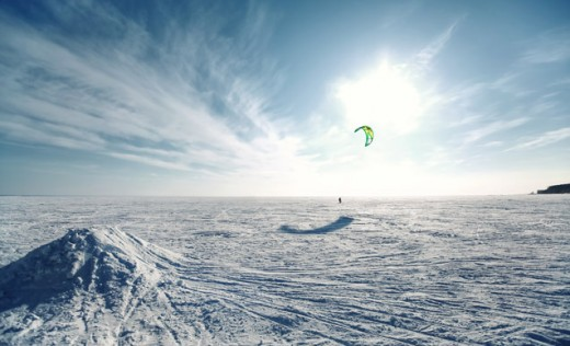 Snow kiting across the ice plains
